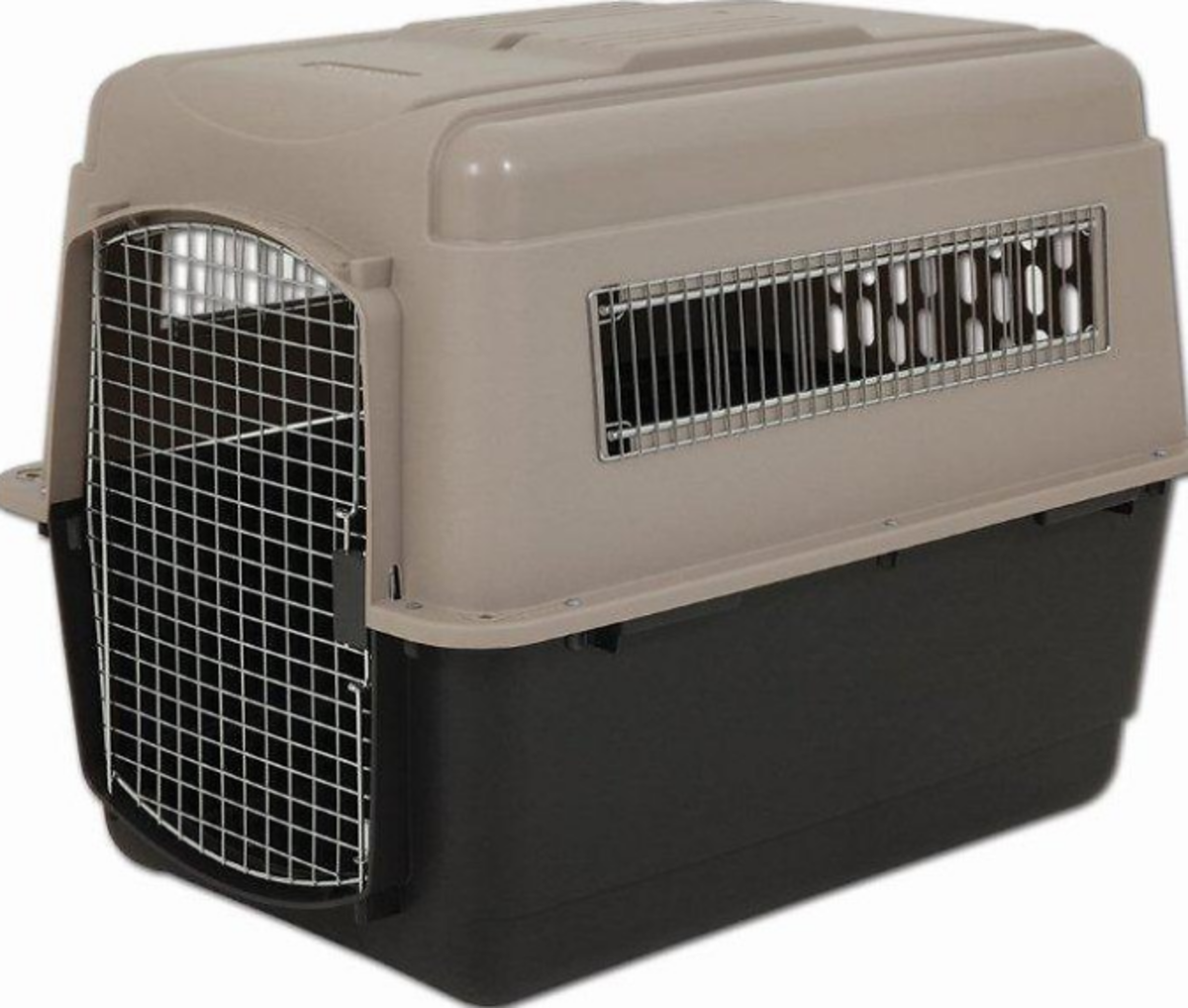 The Petmate Ultra Vari Kennel is available in sizes to fit medium to larger size dogs. I've used this carrier when my dog had to be shipped and was very happy with the quality.
