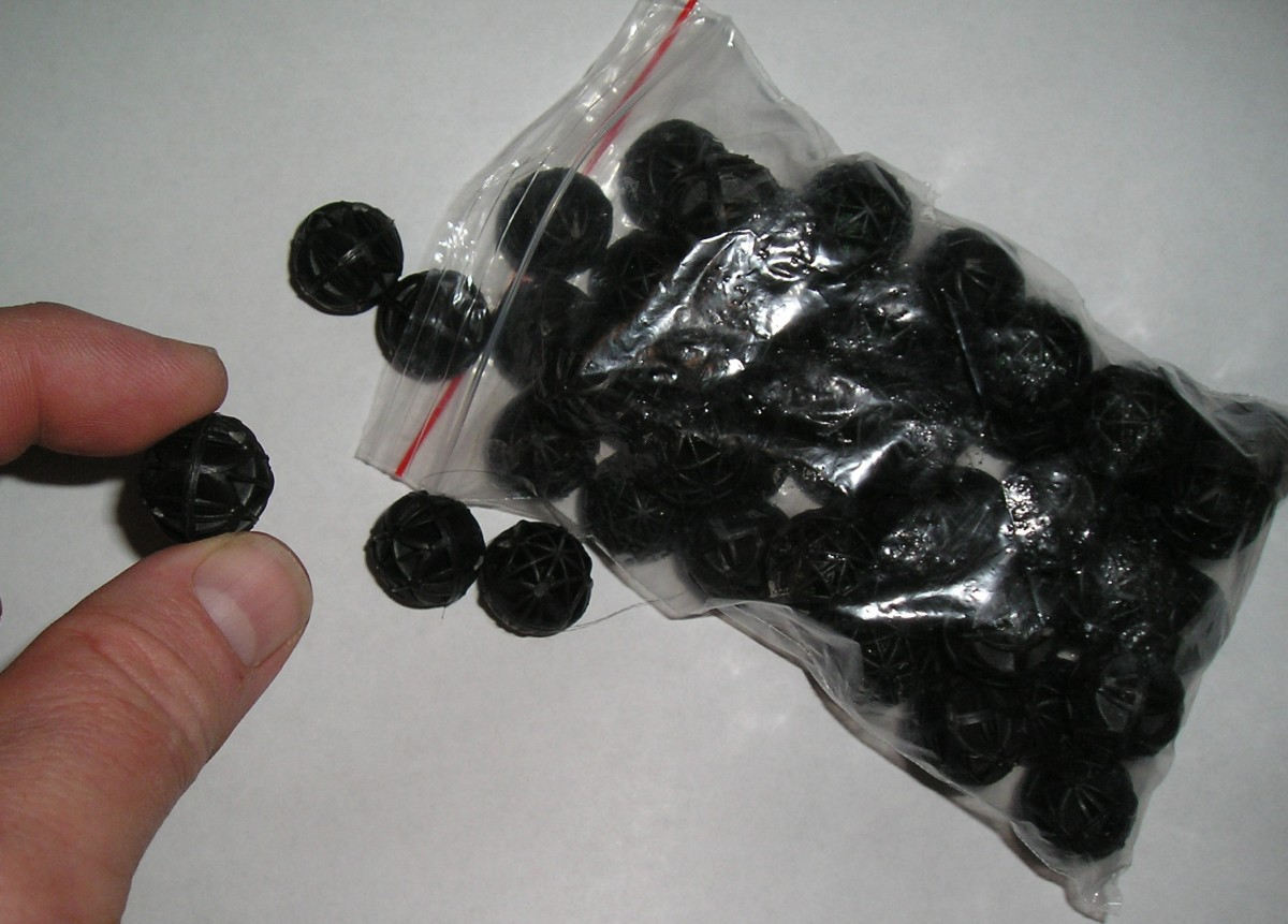 """These small """"Bio Balls"""" have foam squares inside.  Very reasonably priced out of China."""