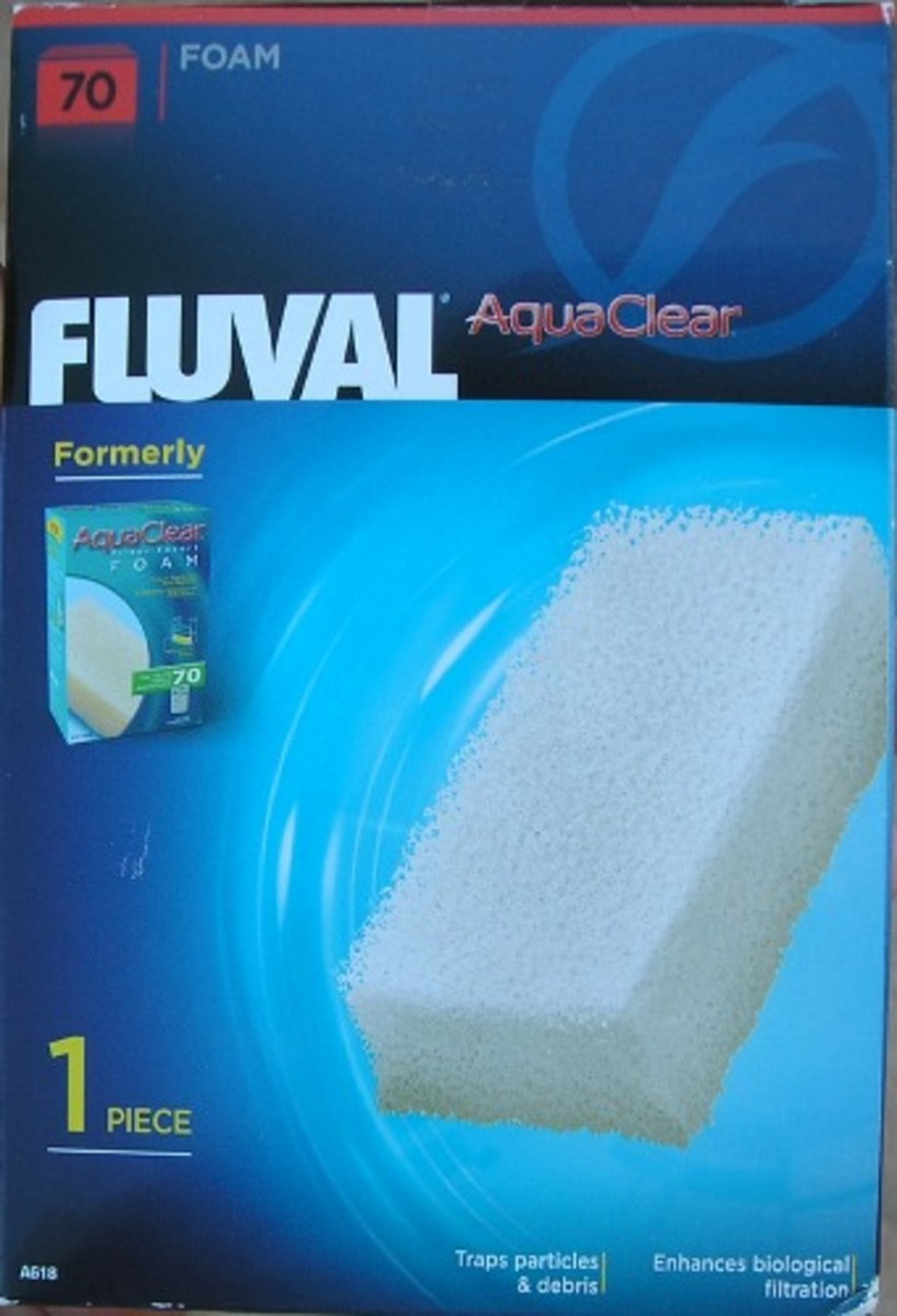Foam filter media I cut to size for use in my new aquarium setup.