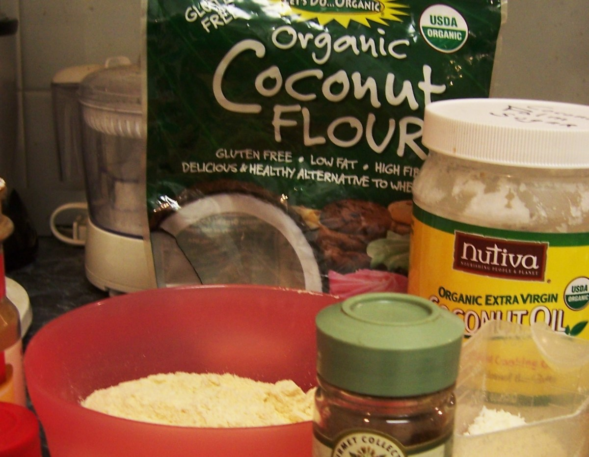 Coconut flour and other ingredients I use.