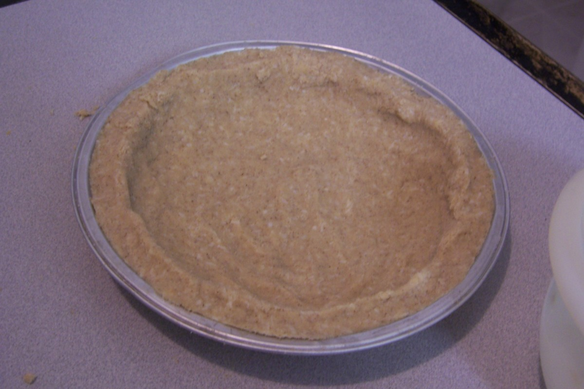 Crust made with coconut flour and shredded dried coconut.