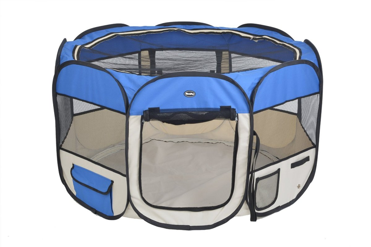This playpen kennel easily folds up and fits into a carrier travel bag.