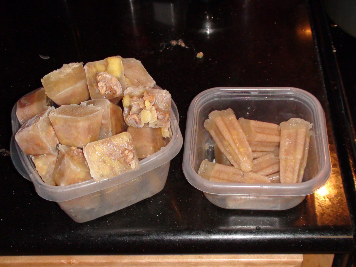Sweet Potato and Chicken Liver Cubes shown here in two different shapes using ice cube trays and popsicle trays.