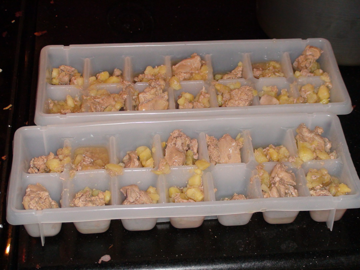 Chunks only. Put the chunks in the trays first. Then fill with broth.