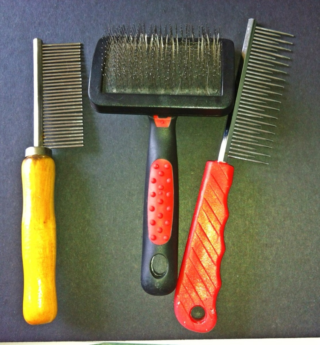 Combs and slicker brush.