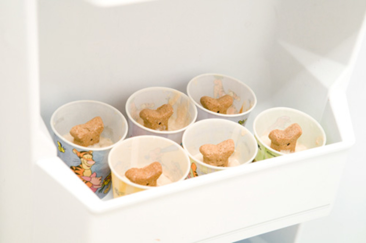 Place the cups in the freezer. The freezer door works great for this.