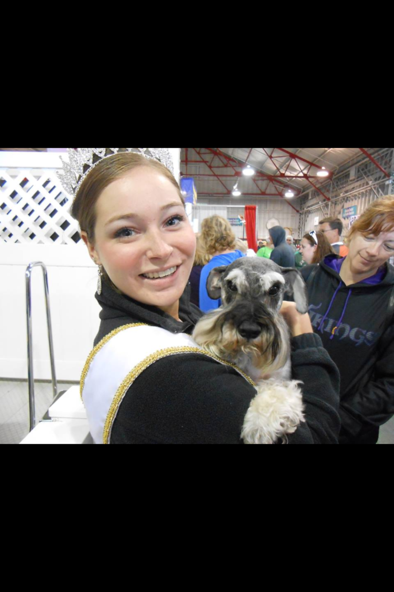 This is my dog Jimmy at The Minnesota State Fair with Princess Kay 2013.