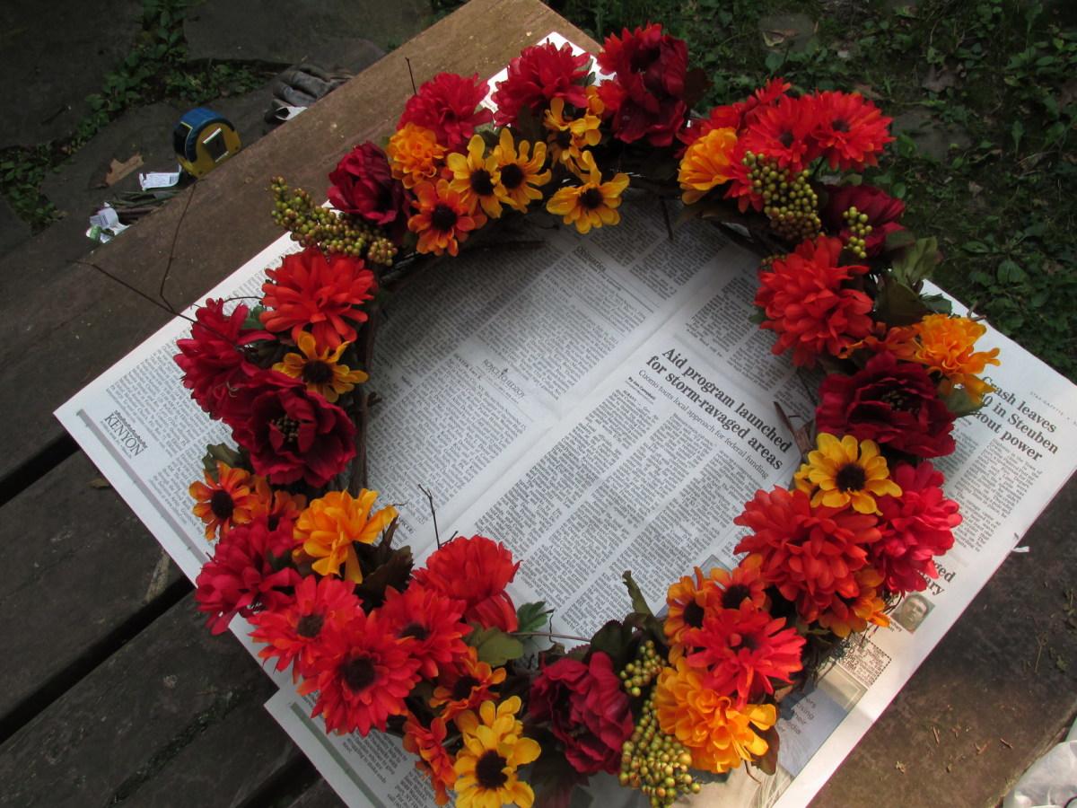 Finished Autumn Hummingbird Feeder Wreath.