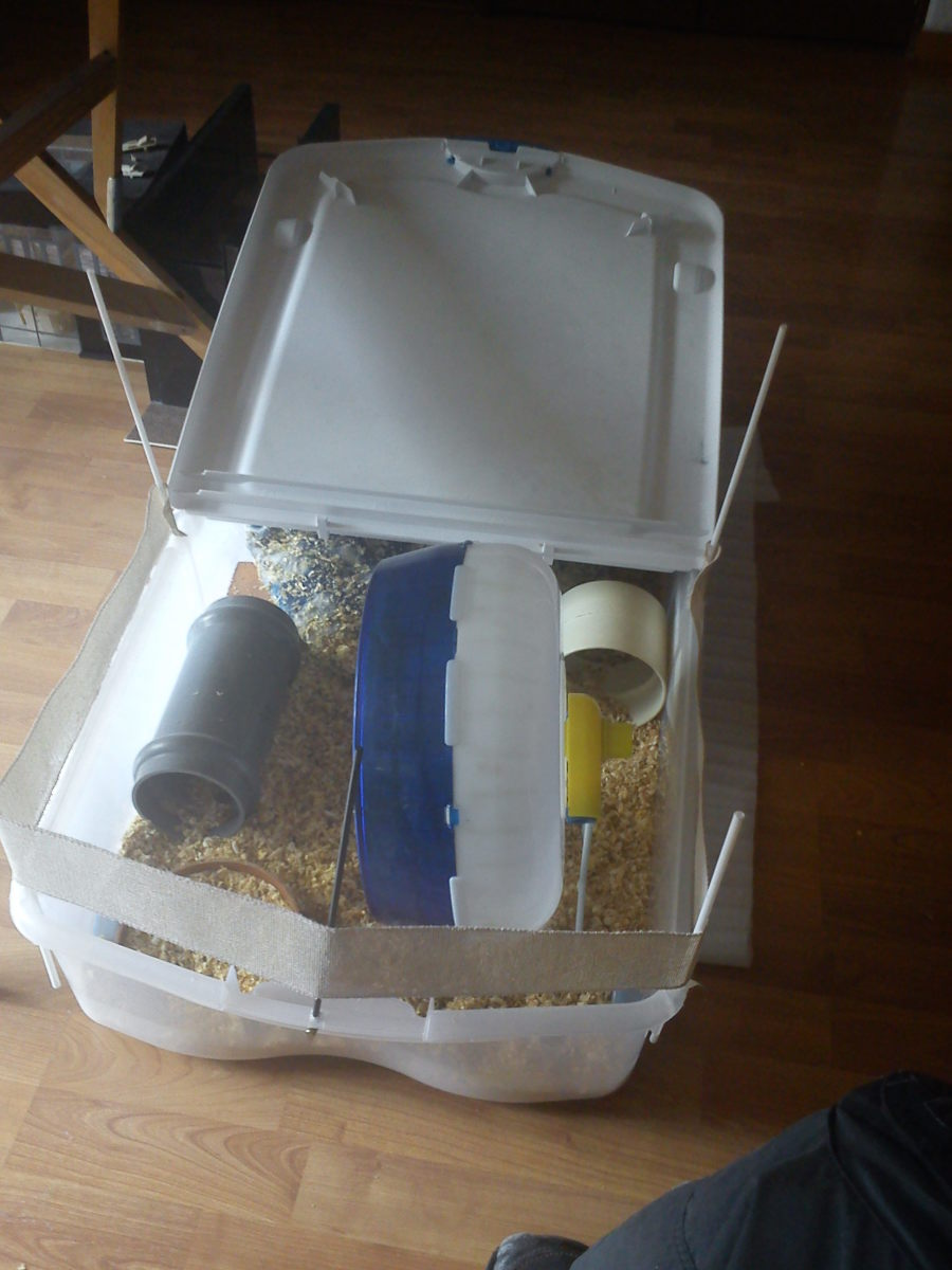 This was my first attempt at a hedgehog house. The open-air construction makes for easy cleaning.