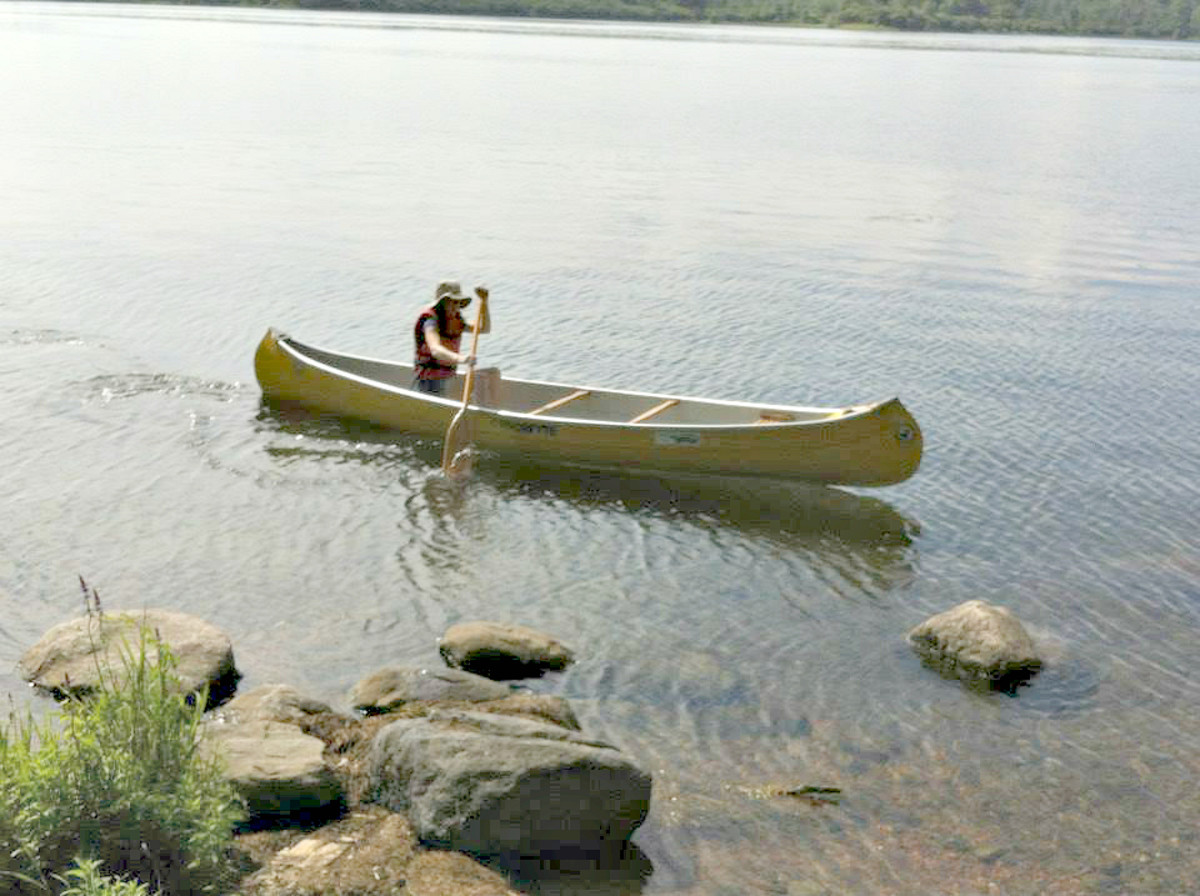 If your dog is reluctant to get in the canoe with you, try paddling out from shore just out of reach from your dog. If your dog wants to be with you, this will help them see they need to hop in or get left behind.