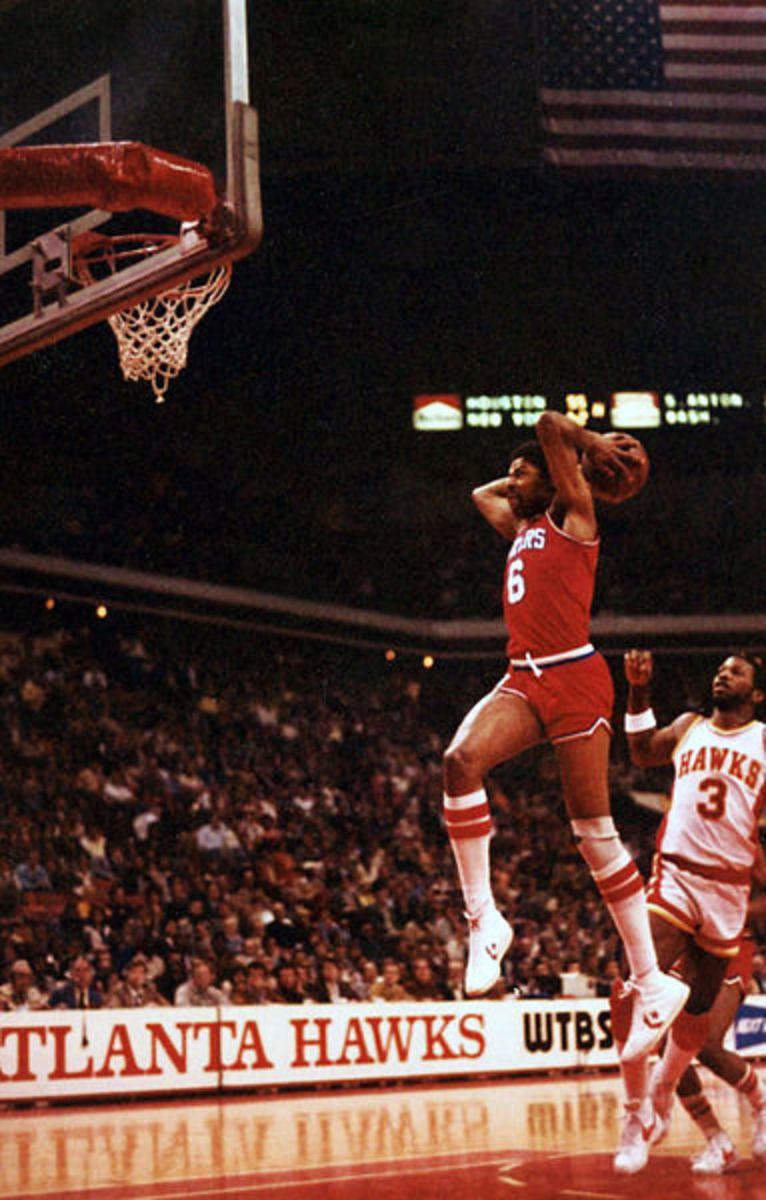 Dr. J schools the Atlanta Hawks with a Slam Dunk