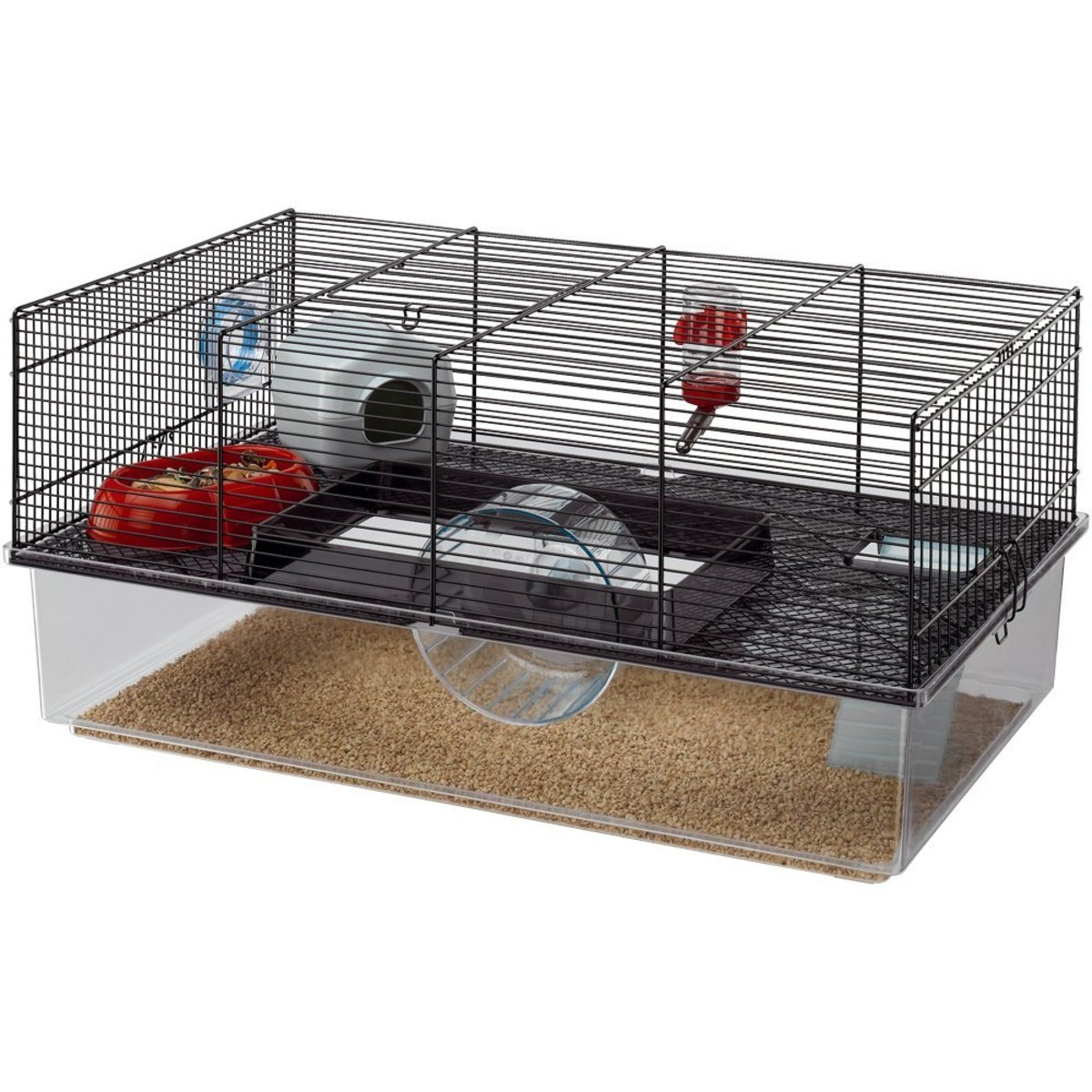 Another brilliant example of a sound, large hamster cage giving lots of variety and options for digging and nesting. Suitable for all types of hamster.
