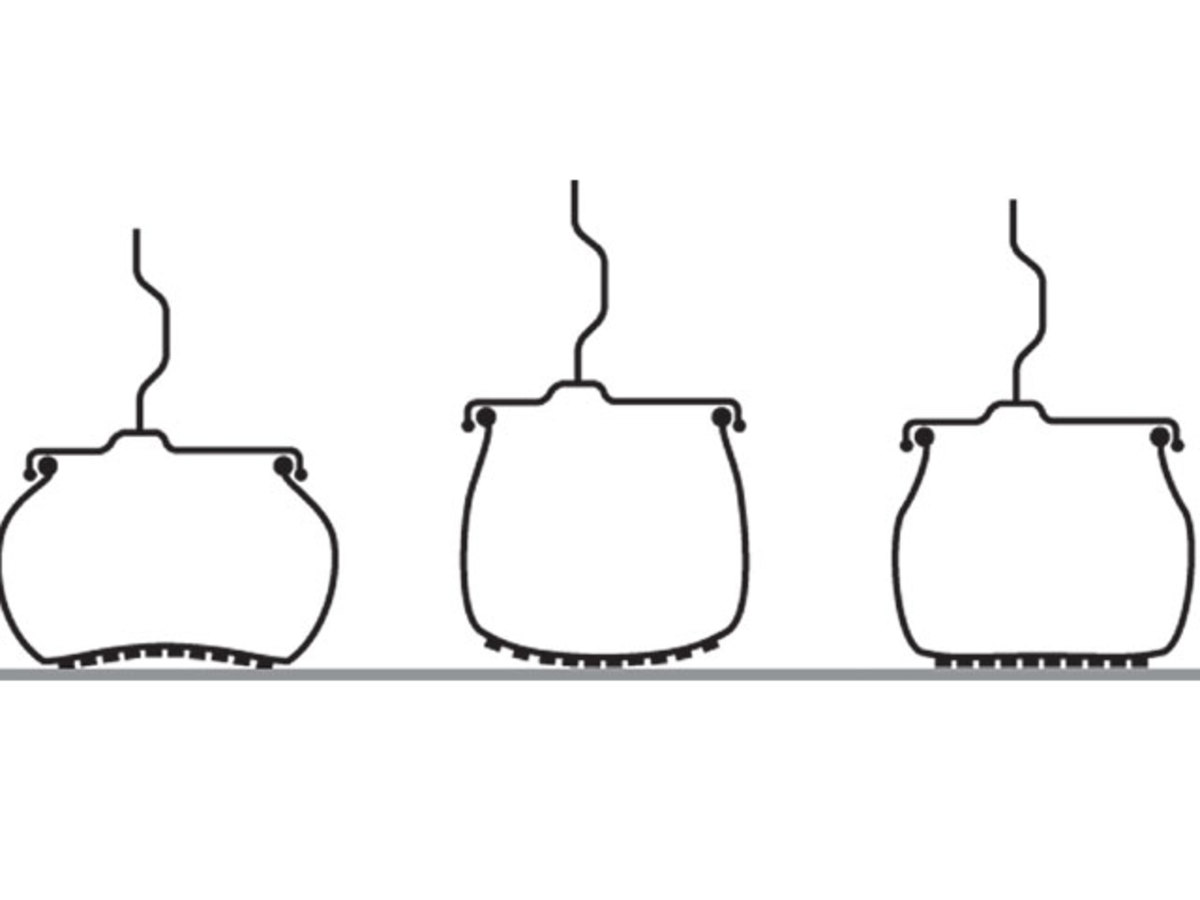 An illustration of tires with different pressures. From left to right: under inflated properly inflated, and over inflated tires.