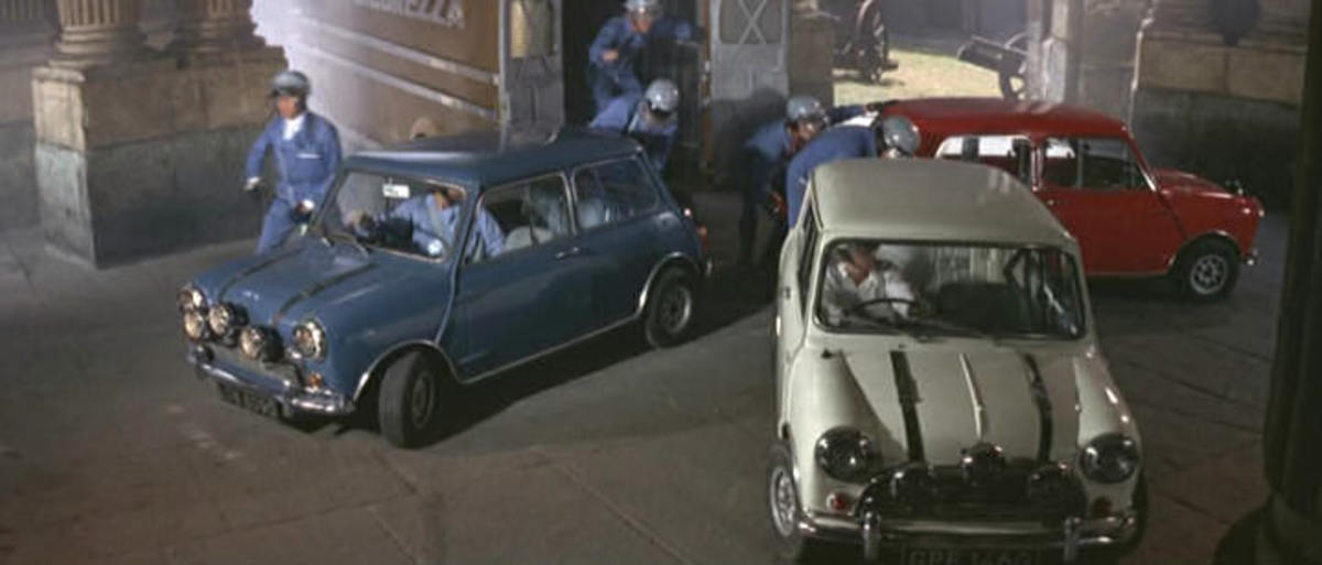 The 1968 Austin Mini Cooper S in The Italian Job (1969).