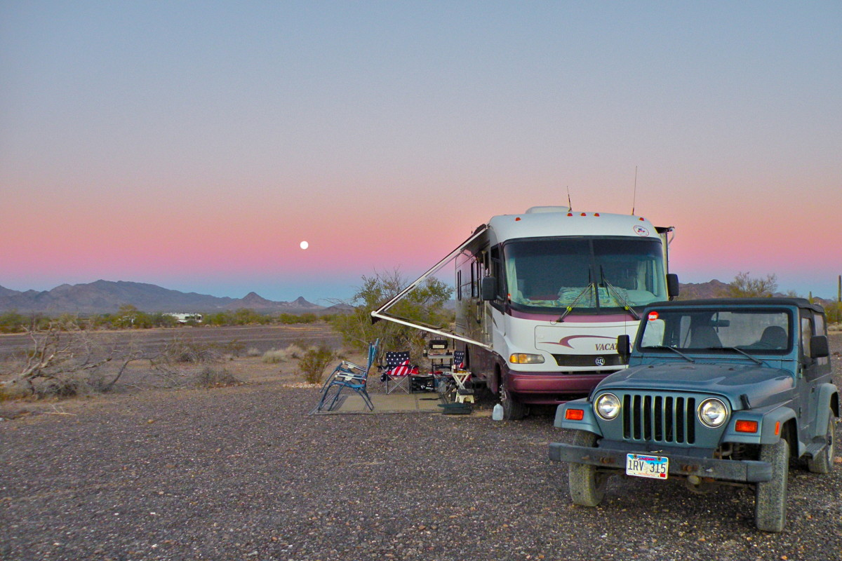 Camping in the Arizona desert.