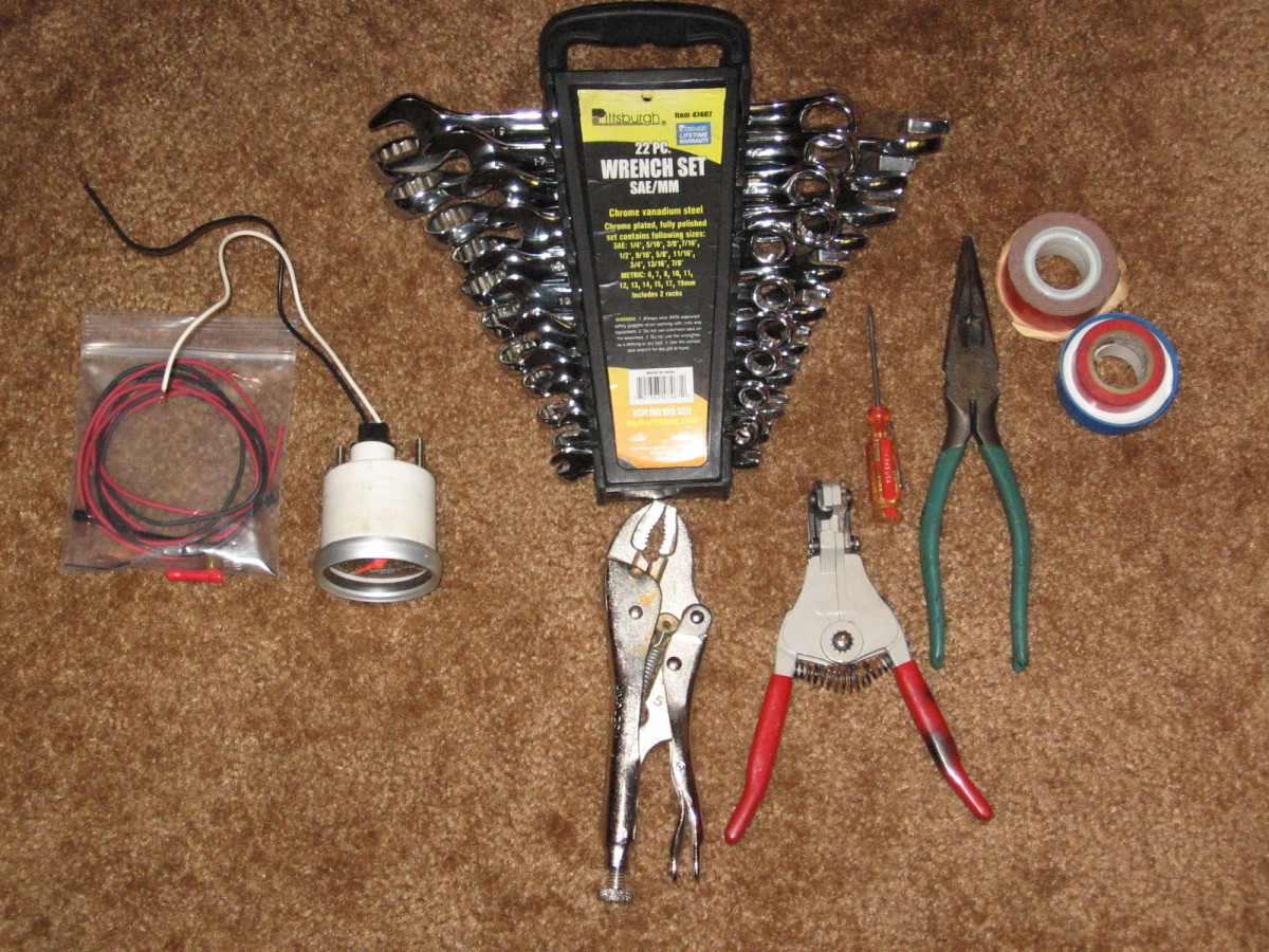 Tools required for installing wires in your car.