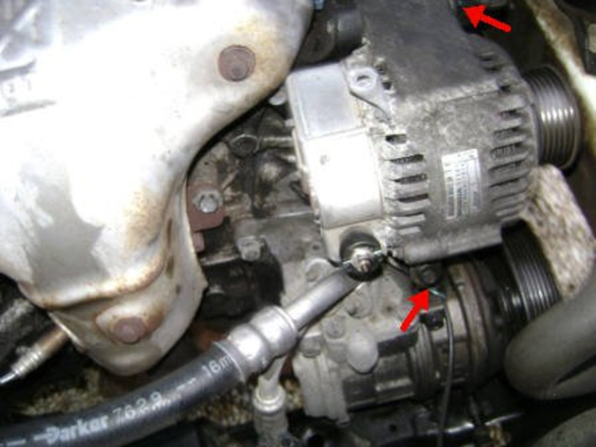Alternator pivot bolt and adjustment bolt.