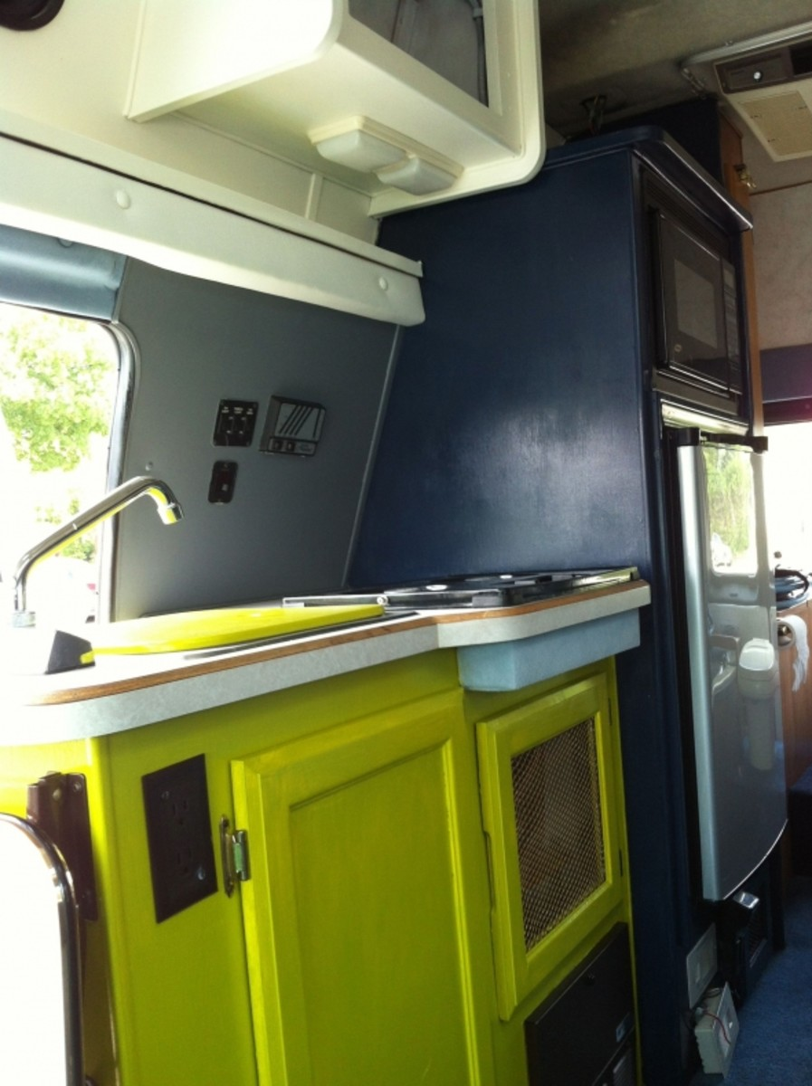 "A sneak peak at the 4 colors; natural, gray, navy & ""eye-catching"" chartreuse. My mechanic got a glimpse today; first time since the paint job and he gave it a big thumbs up and said he couldn't believe what a difference it made""... and that made"