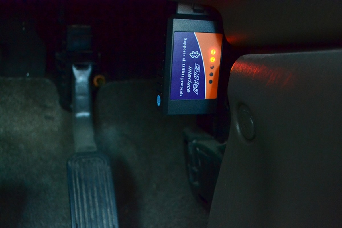 Connected to the OBDII port in a 2004 Toyota Tundra Double Cab just to the right of the gas pedal under the dash.