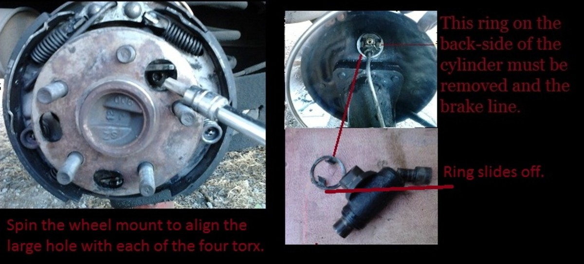 1. Spin the wheel mount to align the large hole with each of the four torx screws. 2. This ring on the back side of the cylinder must be removed along with the brake line. 3. The ring slides off.