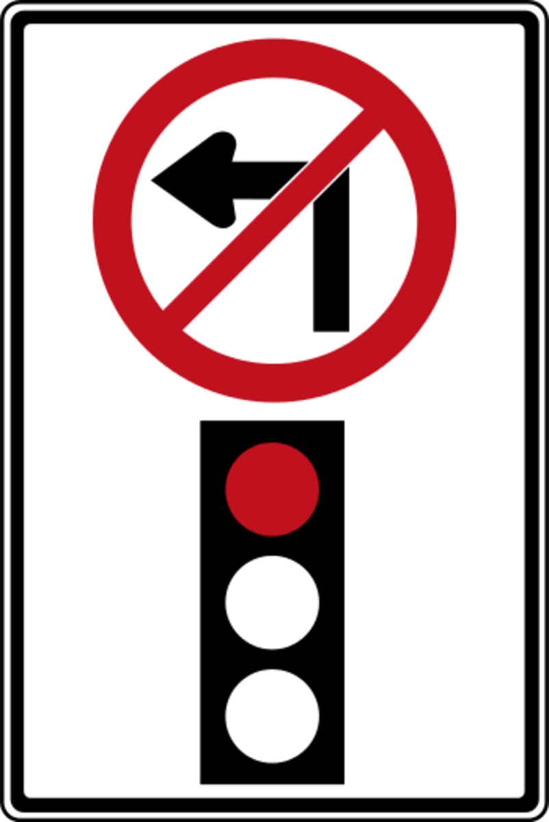 You can never turn left on a red where a sign like this is posted.
