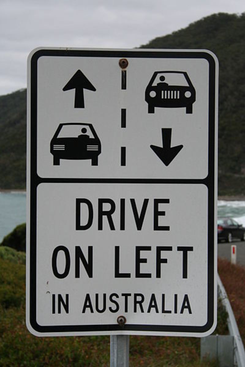 Australian road sign reminding foreign visitors of which side of the road to drive on.