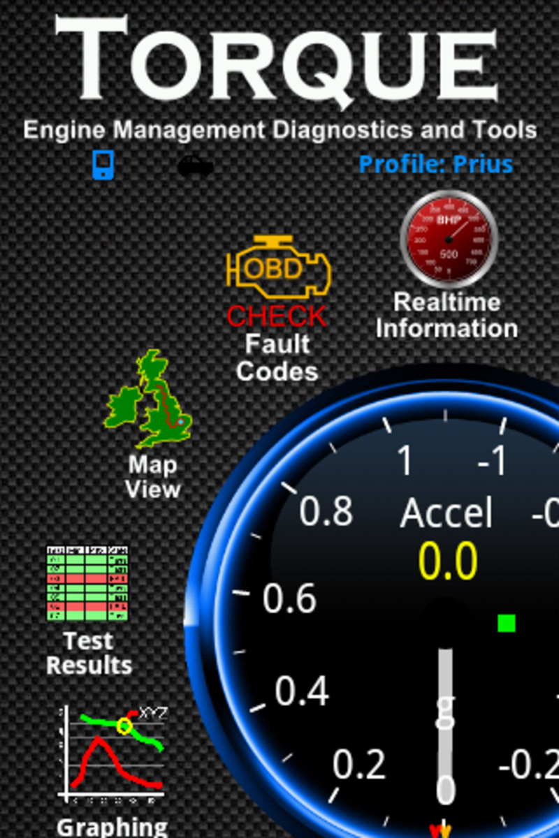 Screenshot of the home screen of the Torque app for Android