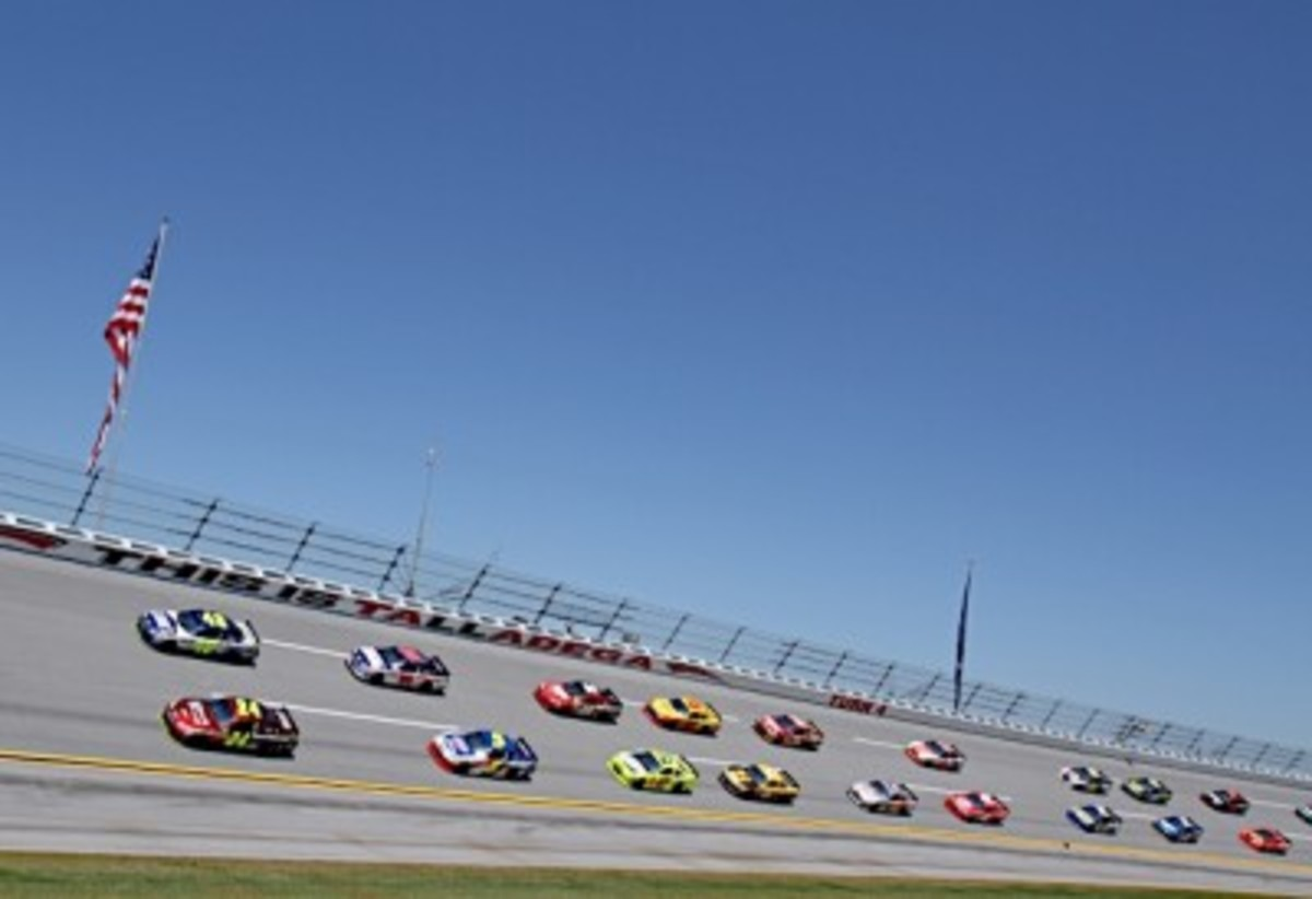 An example of the banking on a racetrack, the steep banks at Talladega