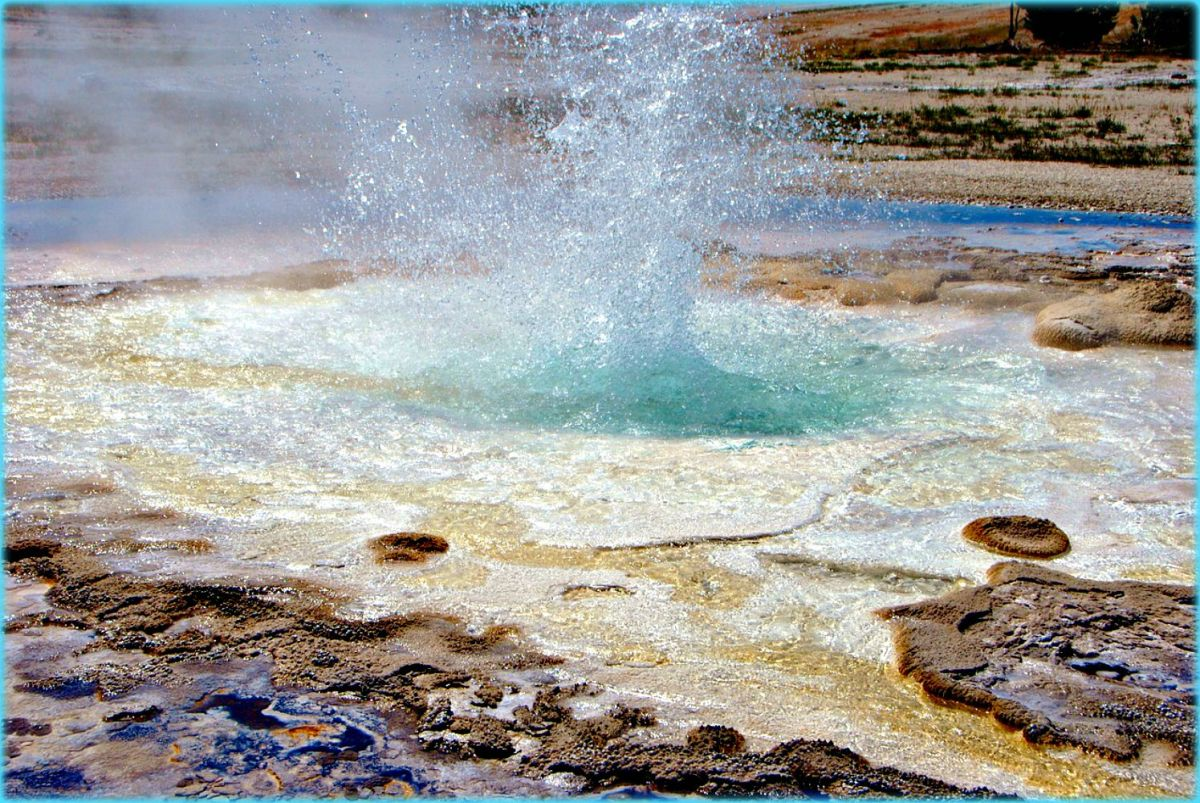 Yellowstone is studded with beautiful geisers that shoot randomly out of the ground.