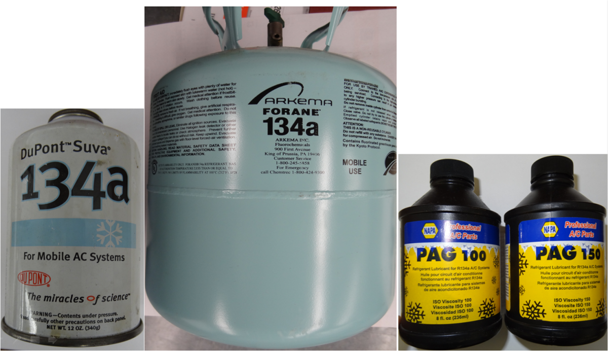 Since 1994 R134a Refrigerant has been used in mobile (cars trucks and equipment) AC Systems with PAG oil being the typical oil.