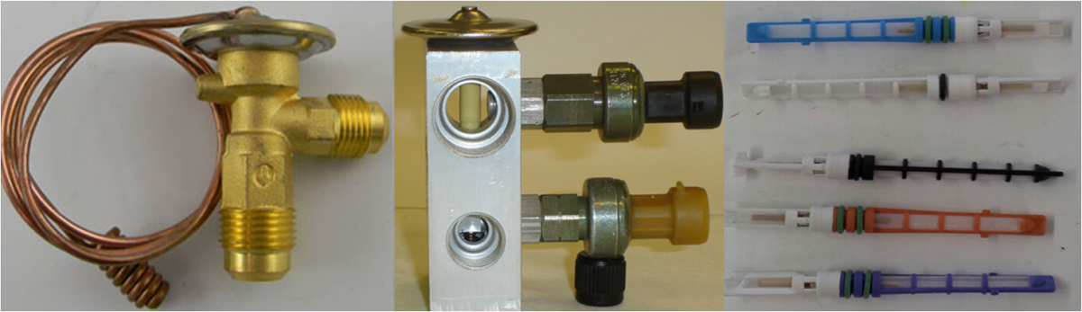 The Thermo Expansion Valve (TXV) and the H-Block are both variable refrigerant control valves to maintain the Evaporator temperature. The Fixed Orifice Tube comes in a variety of orifice sizes and uses a cycling or variable Compressor.