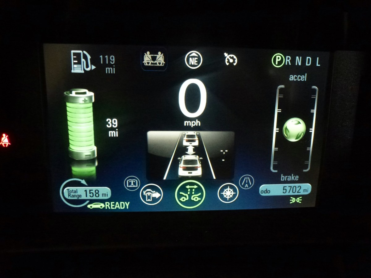 Collision avoidance screen, giving distance to the car in front.  The car will beep loudly if it is too close.