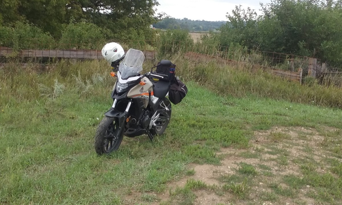 Just stopping to take a photo of off-road riding on the Honda CB500X