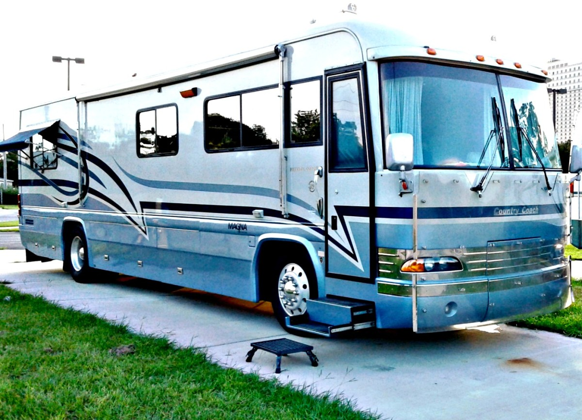 Front entry RVs are very attractive but not so practical as those with side entry doors.