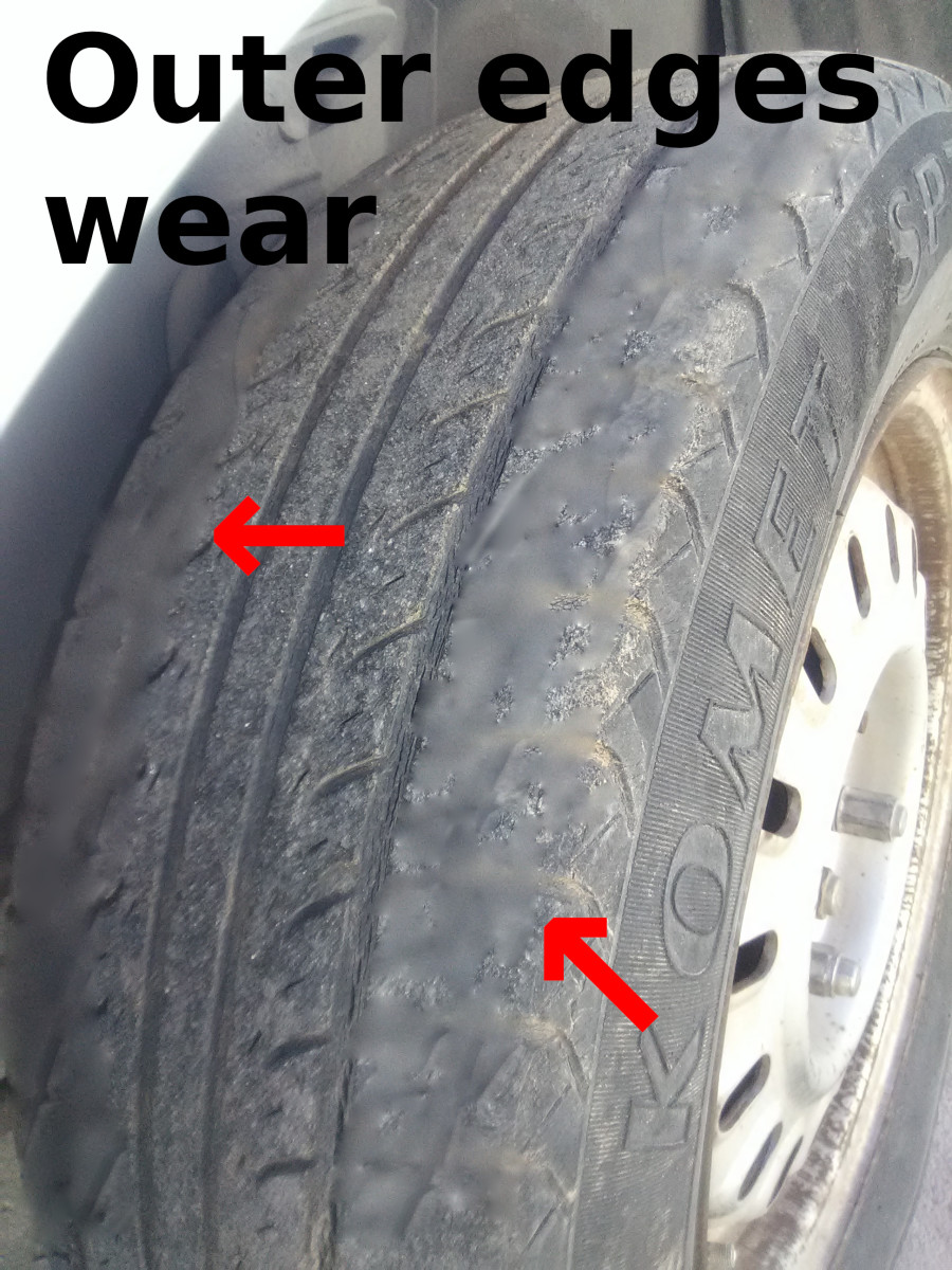 A tire whit worn outside treads are usually caused by underinflation problems.