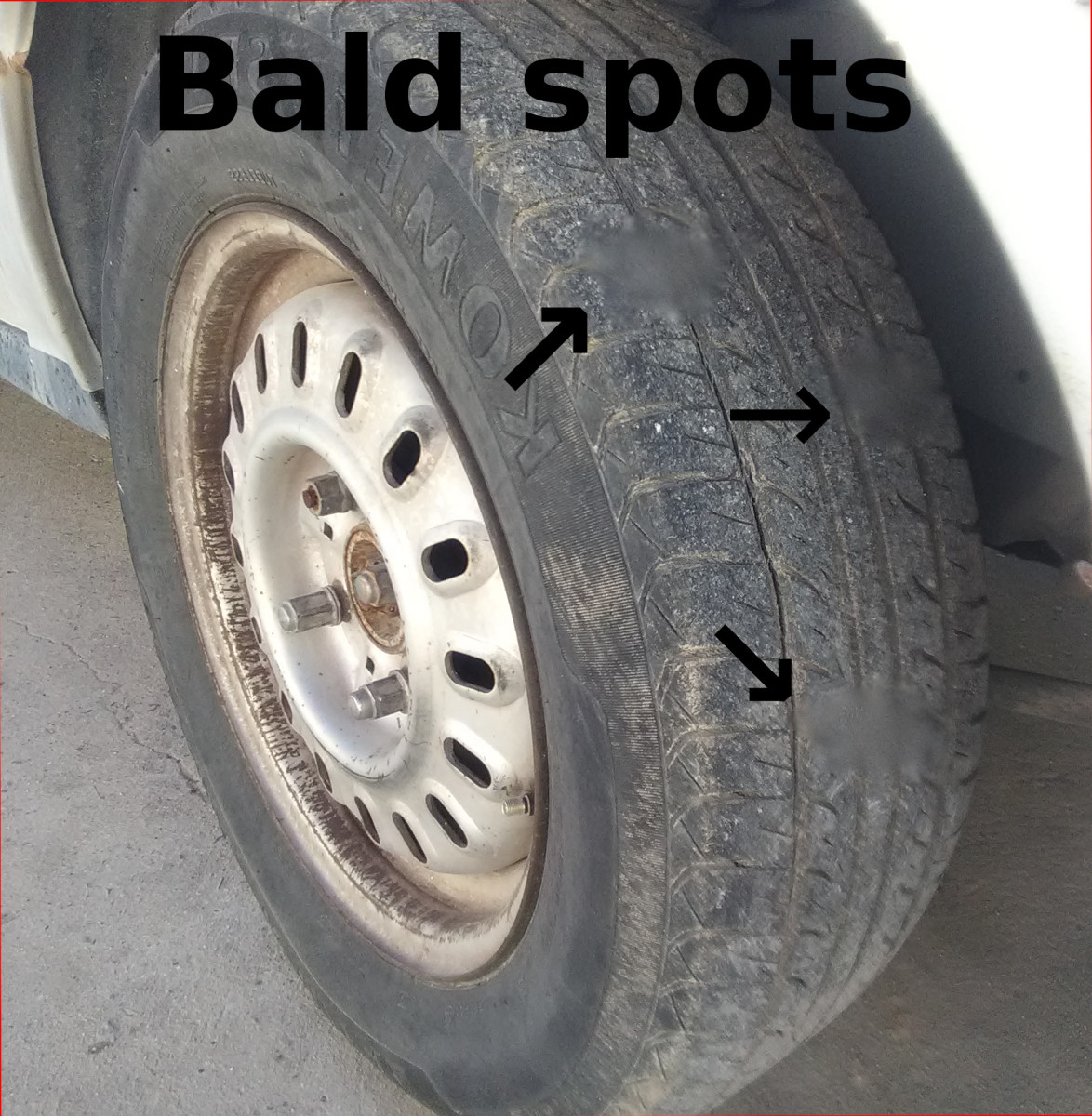 A tire/wheel in need of balance can cause bald spots if not corrected on time.