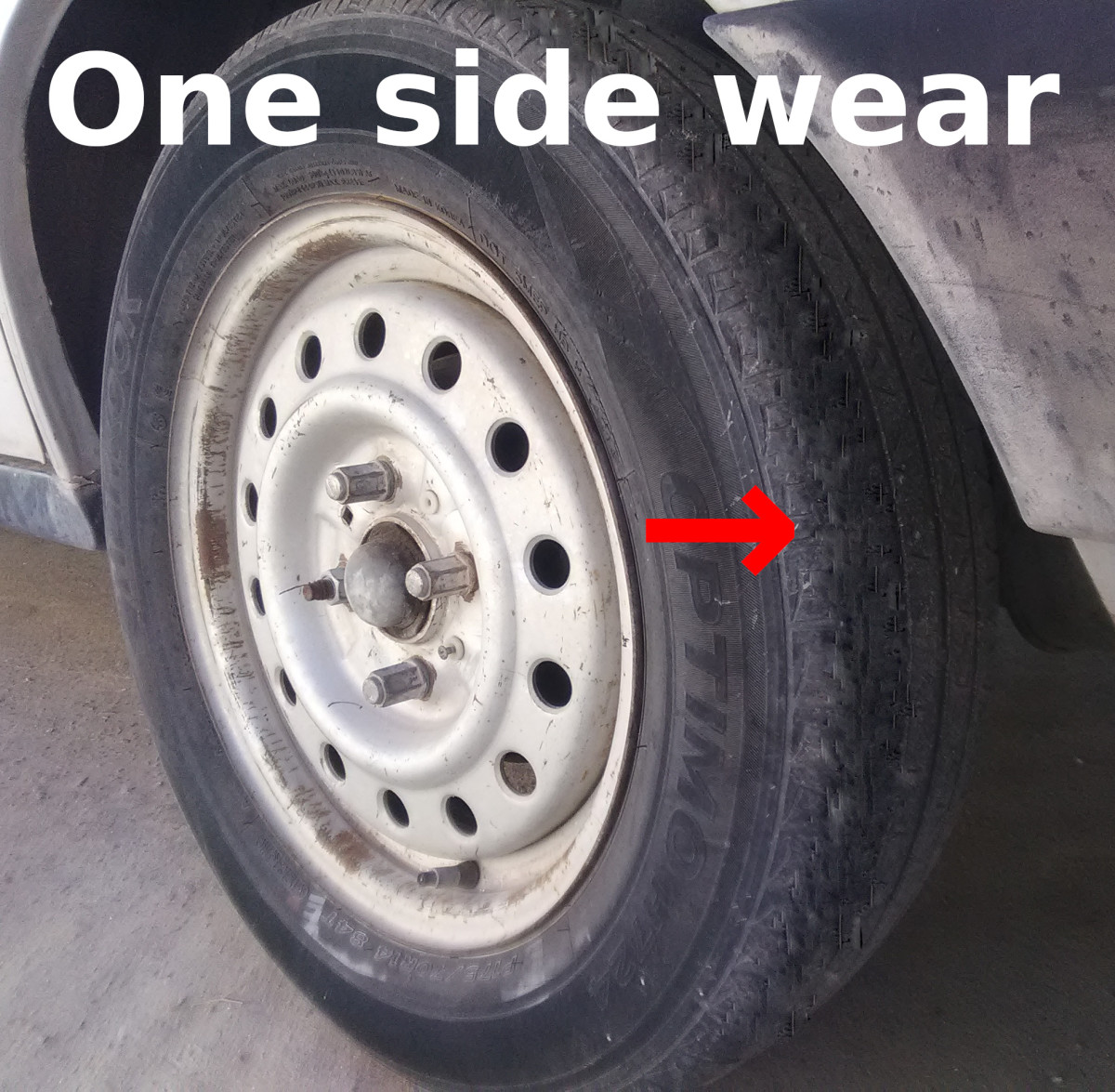 Excessive camber can cause one side of a tire to wear more.