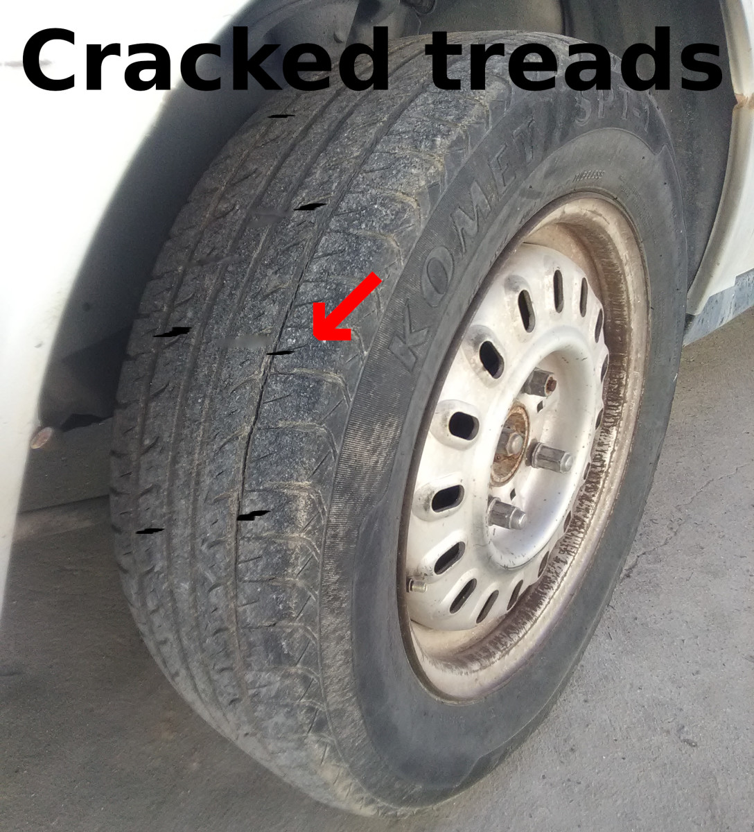 Underinflation or excessive speed can crack a tire's treads.