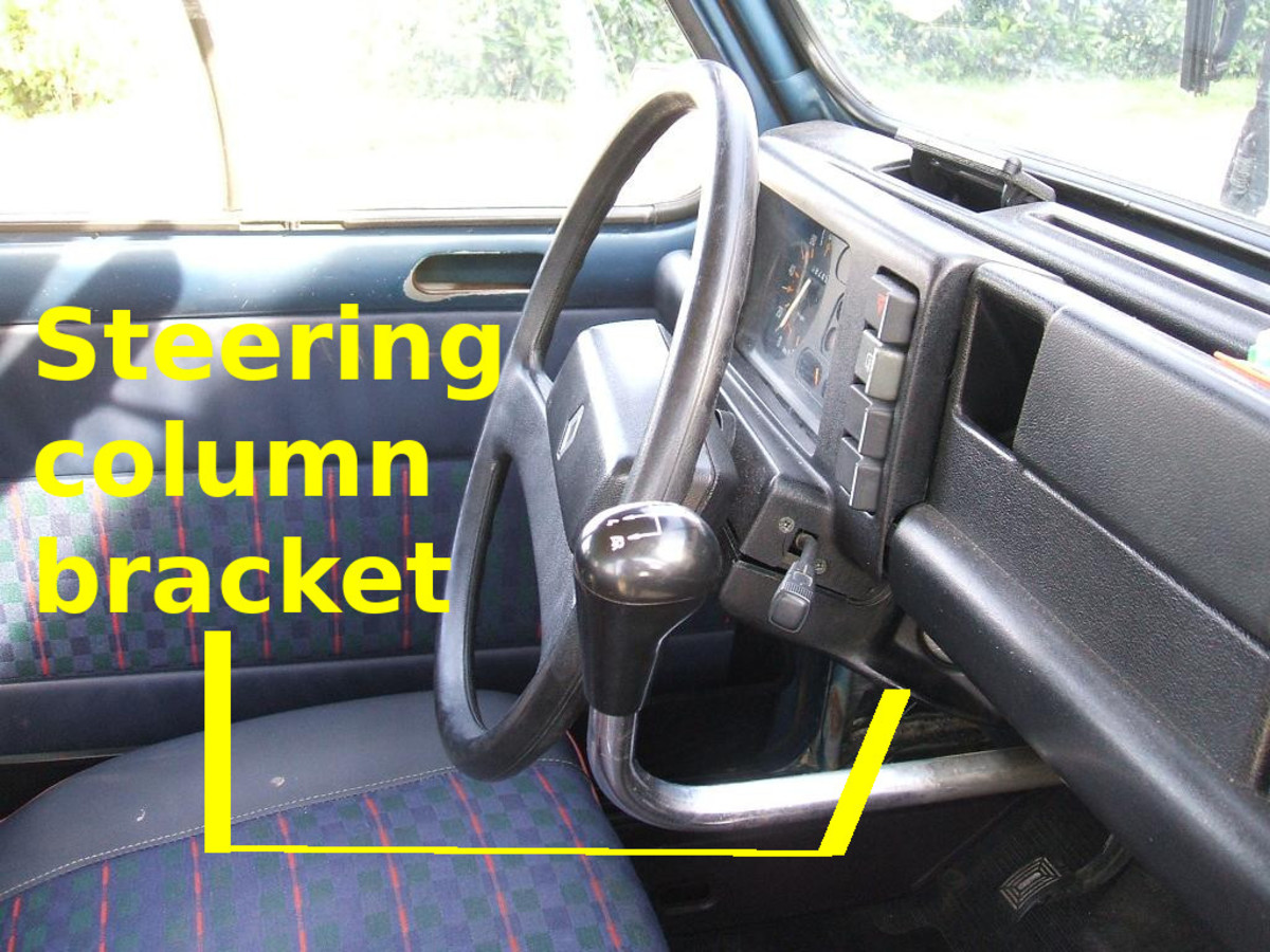 Check for loose steering column brackets under the dashboard.