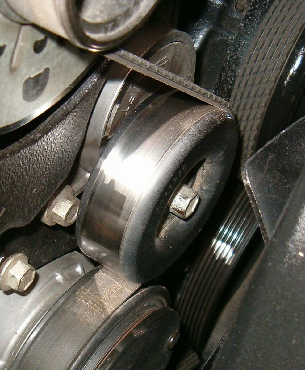 Carefully check the belt, tensioner and pulleys for problems.