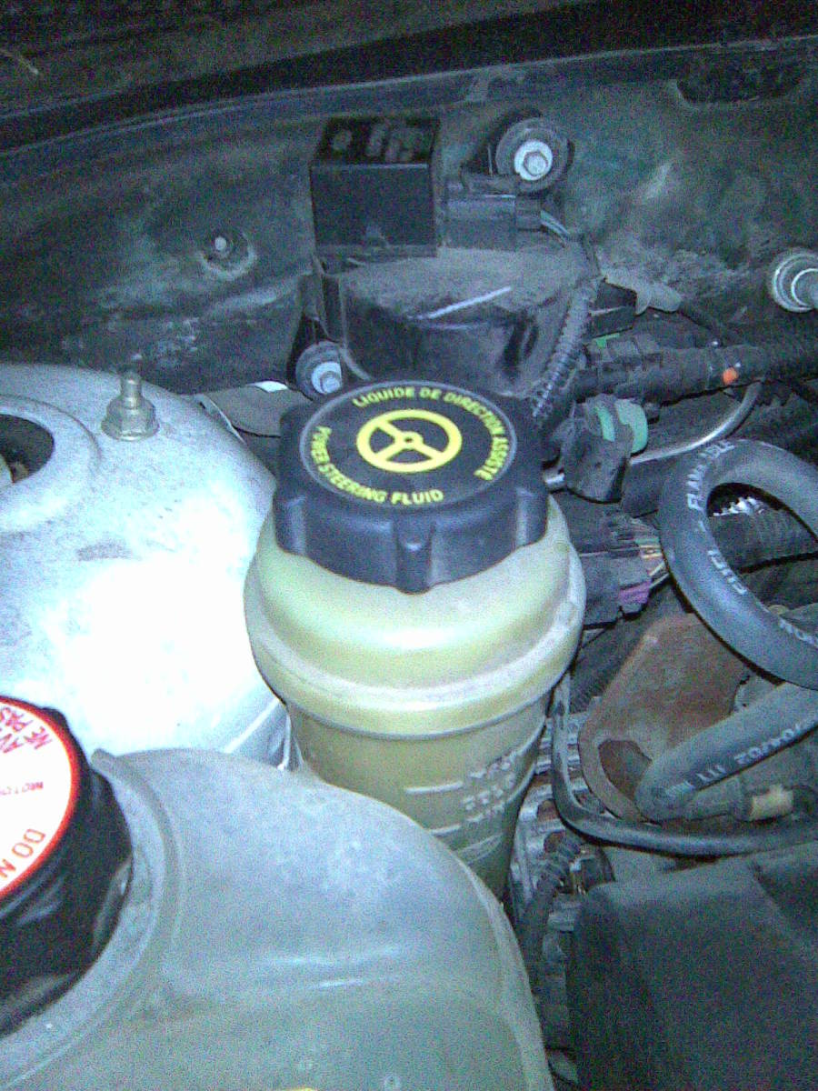 Check power steering fluid level and condition.