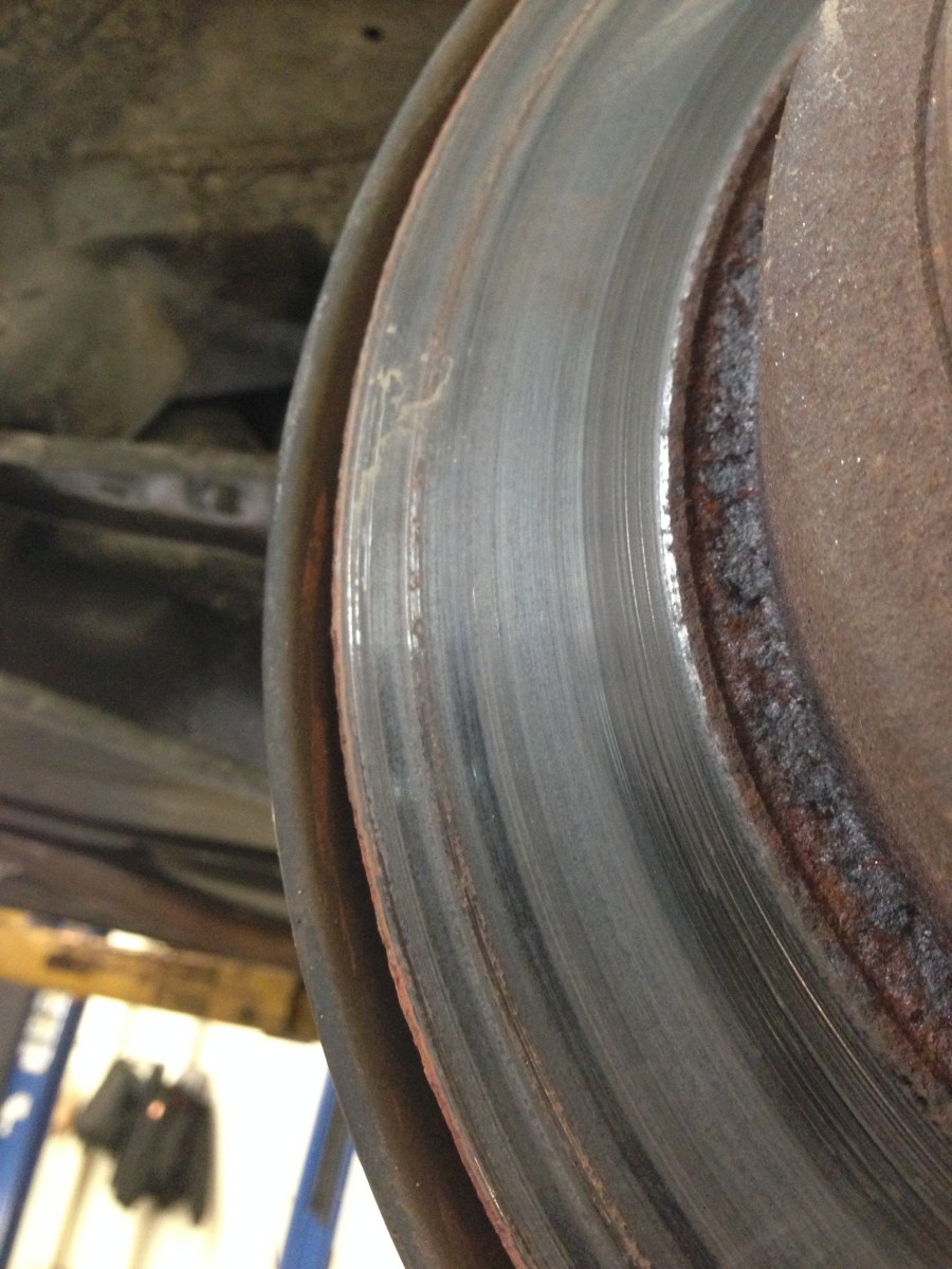 The same rotor, close up;  you can see the rust  embedded in the metal.