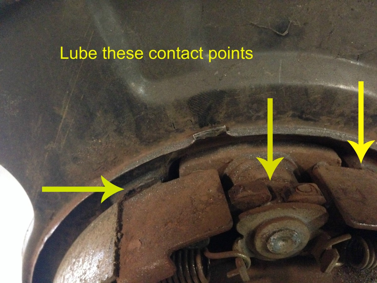 Clean and lube these contact points if your drum brakes squeak.