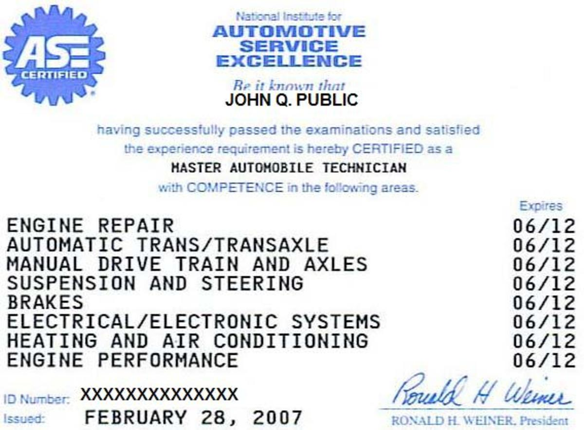 An example of an automotive certificate.