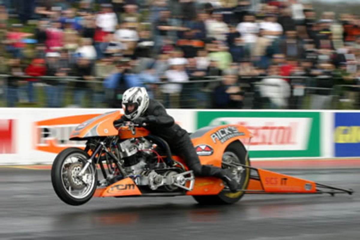 Lorenz Stauble from Switzerland on his Top Fuel bike at Santa Pod.