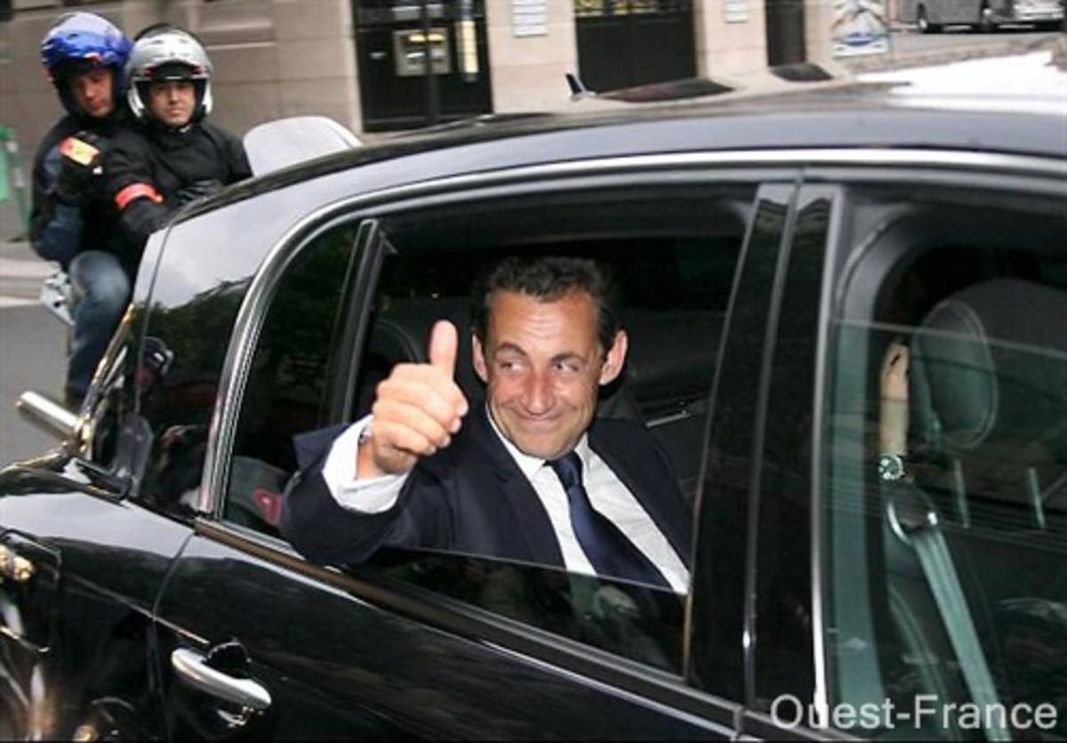 French President Nicolas Sarkozy in his Vel Satis
