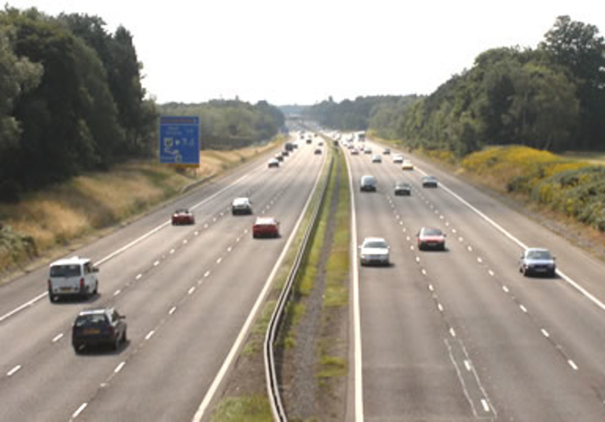 Motorway in the UK, showing left hand traffic