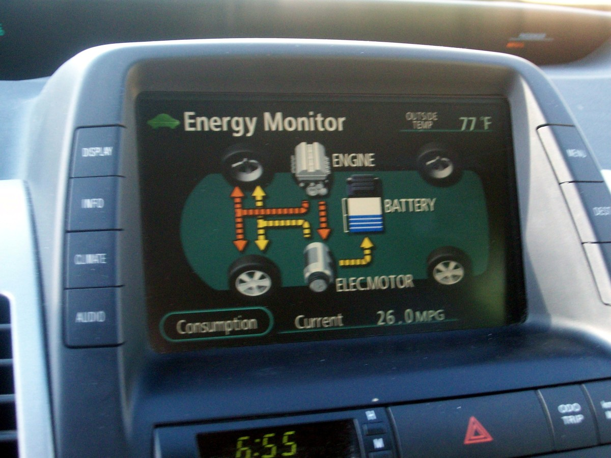 Engine on, moving and recharging battery.  26 mpg