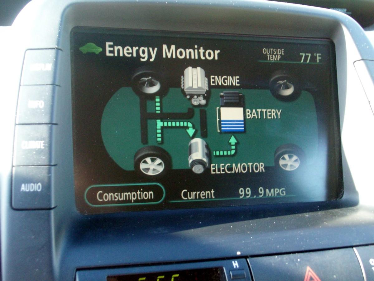 engine off, charging via regeneration.  Car moving, 99 mpg