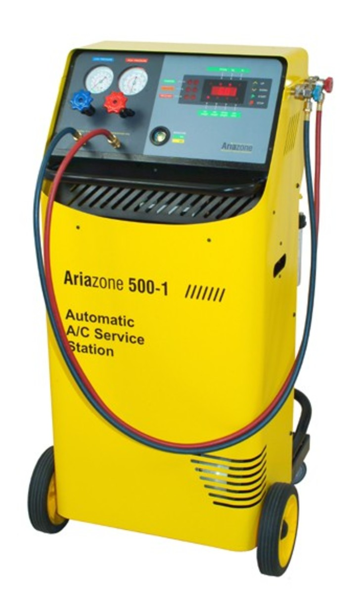 This unit does the whole job automatically and even cleans, separates the oil from the refrigerant then stores it for future use.